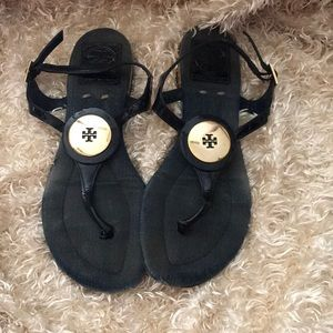 Tory Burch Navy and Jean 7 sandals